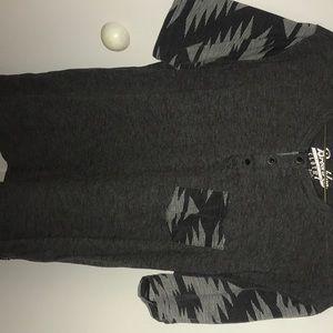 black, grey and white print t-shirt